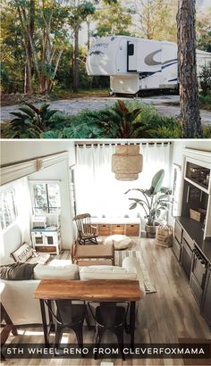 Renovated Wheel with Cozy Cottage Vibes - CleverFoxMama - Tour this tiny home that feels more like a cozy cottage than a camper! Photos from CleverFoxMama (I - Tiny House Living, Rv Living, Living In A Camper, Living Room, Remodel Caravane, Rv Homes, Tiny Homes, Travel Trailer Remodel, Travel Trailers