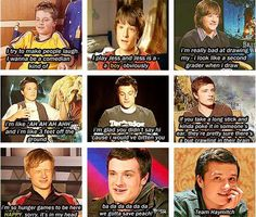 """Eeee! So cute! <3 josh's interviews over the years. my fav. is the """"i'm so hunger games to be here"""" haha :) love it"""