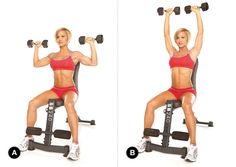 Seated Dumbbell Shoulder Press: Set Up: Sit on a bench with your feet flat on the floor, shoulder-width apart. Grasp a dumbbell in each hand, aligning your upper arms with your shoulders and your wrists directly above your elbows. Your palms should now be facing forward.  Action: Exhale and press the weights upward, bringing them about an inch apart above your head. Pause for a count before inhaling and lowering the dumbbells back to the starting position. Complete 10 to 12 repetitions