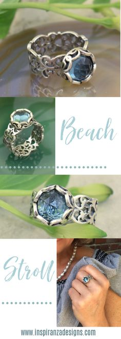 Handcrafted .925 Sterling Silver and  Synthetic Blue Topaz.  Who's ready for a stroll?