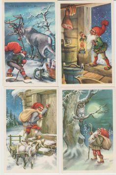 Vanhoja lapsuusajan kortteja Christmas Clipart, Christmas Printables, Christmas Art, Beautiful Christmas, Mushroom Crafts, Mythological Creatures, Christmas Paintings, Christmas Illustration, Old Postcards
