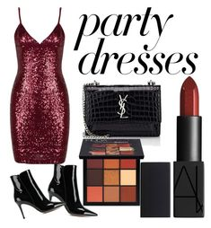 """#PolyPresents: Party Dresses"" by anahitaindumanoj on Polyvore featuring Gianvito Rossi, Yves Saint Laurent, Huda Beauty, contestentry and polyPresents"