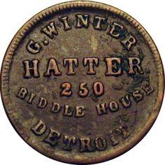 1863 Detroit Michigan Civil War Token G. Detroit History, Detroit Michigan, Shop Logo, American Civil War, Coin Collecting, Folklore, Legends, Coins, Challenge