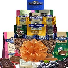 Grand Ghirardelli Chocolate Array Gift Basket s: Personalized message available at no additional cost. The Grand Ghirardelli Chocolate Gift Basket features a beautiful array of chocolate treats. Chocolate Basket, Chocolate Sweets, Chocolate Gifts, Mint Chocolate, Chocolate Lovers, Gourmet Gift Baskets, Gourmet Gifts, Raspberry Bars, Holiday Baskets