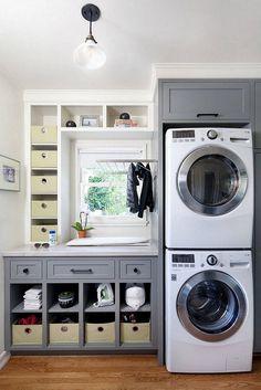 Rustic Laundry Rooms, Laundry Room Layouts, Small Laundry Rooms, Laundry Room Organization, Laundry Room Design, Organization Ideas, Storage Ideas, Ikea Laundry, Laundry Area