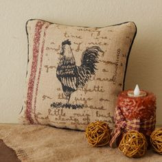 """French Country Farm ROOSTER 10"""" x 10"""" Burlap Decorative Pillow Rustic Primitive in Home & Garden, Home Décor, Pillows 