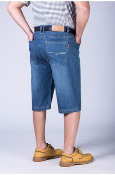 Drizzte Mens Jeans Shorts Stretch Light Blue Thin Denim Short Jean Big and Tall Trousers Pants