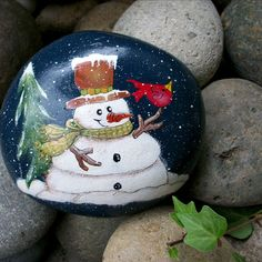 Hand Painted Snowman. Red Cardinal. Forest. Indigo Blue. Winter Whimsey. Original. Christmas Decoration