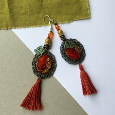 Boucles d'oreilles bohême chic baba cool Bronze antique pierres & cristal Swarovski : Boucles d'oreille par la-perruche-de-rio