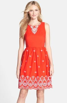 Free shipping and returns on NYDJ 'Colette' Embellished Cotton Fit & Flare Dress at Nordstrom.com. Clean white beading and embroidery bring peppy detail to this colorful woven-voile dress. Built-in shapewear incorporates NYDJ's exclusive lift-tuck technology to flatten the tummy and lift the rear.
