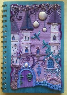 purple polymer clay journal cover: