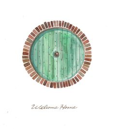 Items similar to hobbit door, welcome home print of original paintings of various sizes on etsy - Modern Hobbit Tattoo, Tolkien Tattoo, J. R. R. Tolkien, Into The West, House Front, Middle Earth, Lord Of The Rings, Lotr, Twinkle Lights