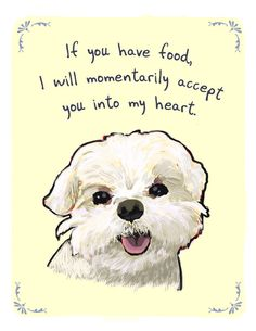 Maltese 5x7 Print of Original Painting with phrase. $12.00, via Etsy.