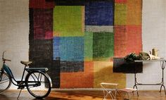 """Elitis Raffia Untitled is an oversized multicolored geometric panoramic mural wall covering that captures an modern yet timeless look.  Sold by 3 panels of 39.3"""" width X 118"""" height roll"""