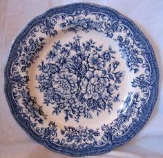 Blue White Toile Transferware Rose Vintage Plate S