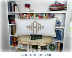 Custom Monogrammed Pillow Covers.  #homedecor #bedroom #nursery #sham