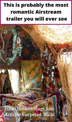 Hand-hooked rugs and antique carpeted walls in Airstream trailer
