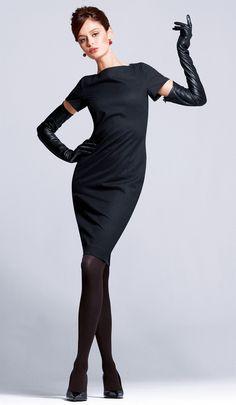 Stunning little black dress and long black leather gloves.