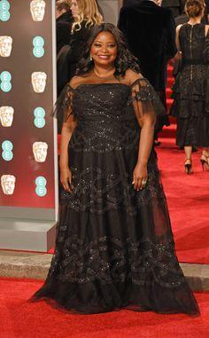 Octavia Spencer from 2018 BAFTA Film Awards: Red Carpet Arrivals  The Oscar winner looks regal in a sparkling black dress.