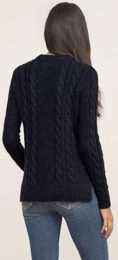 Abercrombie - navy cable knit pullover