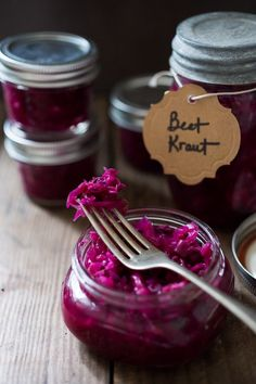 A very easy, small batch recipe for Beet and Cabbage Sauerkraut that anyone can make using a mason jar. Full of good healthy bacteria!