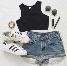 Picture outfit, fashion, and style - Adidas Outfit - Cute Teen Outfits, Cute Comfy Outfits, Teenager Outfits, Cute Summer Outfits, Outfits For Teens, Trendy Outfits, Girl Outfits, Girls Fashion Clothes, Teen Fashion Outfits