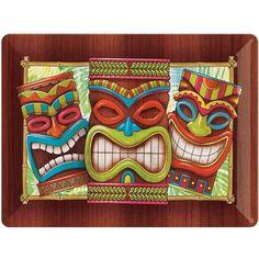 Green and Brown Luau Party Tiki Time Design Printed Tray - 32757026 Luau Party Decorations, Luau Theme Party, Tiki Party, Beach Party, Hawaiian Party Supplies, Tiki Man, Tiki Tiki, Tiki Faces, Summer