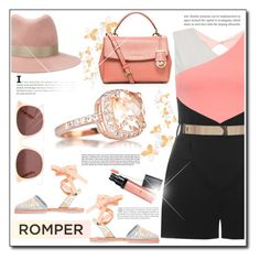 """Peach Romper."" by patria ❤ liked on Polyvore featuring Dorothy Perkins, rag & bone, Sophia Webster, Madewell, MICHAEL Michael Kors, peach and romper"