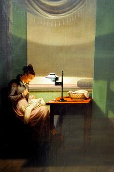 Georg Friedrich Kersting - Young Woman Sewing by the light of a lamp (1823) at Neue Pinakothek Munich Germany