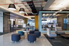 funky office floating ceiling lighting office building - Google Search