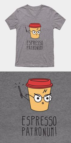 Harry Potter Espresso Patronum T Shirt |  If you love JK Rowling's magical story, coffee and funny puns, then you've found your perfect shirt. | Visit http://shirtminion.com/2016/07/harry-potter-espresso-patronum-t-shirt/