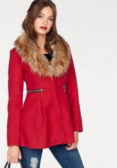 Melrose Kurzmantel, mit Zipper Details für 89,99€. Eleganter Mantel von MELROSE, Mit abnehmbarem Fellimitat-Kragen, Sehr schmale Passform mit weitem Saum bei OTTO