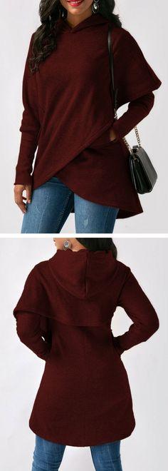Wine Red Asymmetric Hem Long Sleeve Pocket Hoodie.#hoodie#hoodieforwomen#hoodiessweatshirt