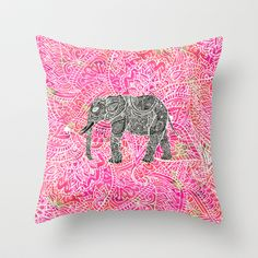 Pink Safari | Tribal Paisley Elephant Henna Pattern Throw Pillow by Girly Trend - $20.00