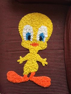 TWEETY BIRD DECOR, Vintage Melted Plastic door hanging, melted plastic popcorn wall hanging,1970s home decor,Looney Tunes Collectible decor by TheJellyJar on Etsy