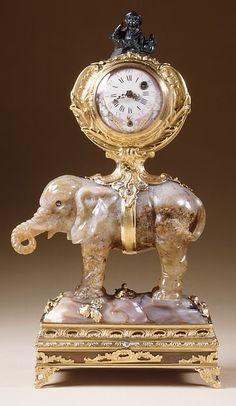 Miniature clock in the form of an elephant supporting a watch case  ca. 1750; watch dial a later 18th century replacement  German (Dresden) (?)  Agate, heliotrope, gold and diamonds