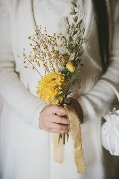 Wild Flower Yellow Bouquet - McKinley & Rodgers | The Olde Bell Hurley, Berkshire | Autumnal Styling | Tea Length Fur Coat No Knickers Wedding Dress | Story Catcher Videography