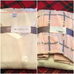 New Set of Pajamas !   New pajama set ! Top is pullover Vee neckline in Ivory color ! Pants are a soft pink plaid with elastic waist and pink tie ! Very soft !  Liz Claiborne Intimates & Sleepwear Pajamas
