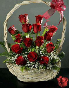 Basket of red roses Valentine Flower Arrangements, Basket Flower Arrangements, Valentines Flowers, Beautiful Flower Arrangements, Rosen Arrangements, Floral Arrangements, Beautiful Rose Flowers, Funeral Flowers, Dried Flowers