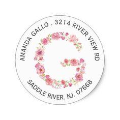 Floral G Initial Monogram Return Address Sticker - monogram gifts unique design style monogrammed diy cyo customize