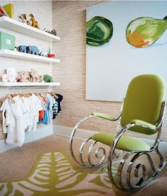 Bright nursery with a lime green rocking chair, a faux animal rug, and IKEA shelves Ikea Storage Solutions, Closet Solutions, Renters Solutions, Storage Hacks, Plastik Box, Budget Nursery, Nursery Ideas, Nursery Decor, Whimsical Nursery