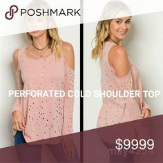 🆕DUSTY PINK PERFORATED COLD SHOULDER TOP DUSTY Pink perforated cold shoulder top. Criss cross neckline. Long sleeves. LOVE it. Not form-fitting, slightly flowy. Fits TTS.   🍃SILVER LEAF CHAIN NECKLACE ALSO AVAILABLE   ☞Sizes available: S M l ☞MODELING SIZE MEDIUM 🍃IG: @JMAYORGA91   ❌PRICE FIRM❌ Tops
