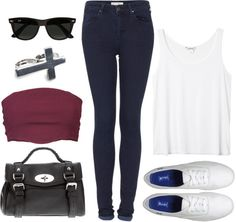 """""""Requested: Outfit with Blue Jeans and White Keds"""" by eleanorcalder-lookbook ❤ liked on Polyvore"""