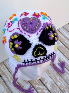 Hey, I found this really awesome Etsy listing at https://www.etsy.com/listing/208164219/sugar-skull-earflap-hat-halloween-day-of