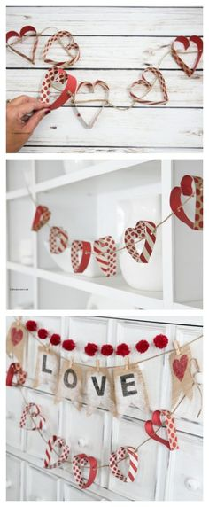 Today I am sharing a very simple but cute Paper Heart Garland that is a fun addition to your Valentine& Day Decor. You could also make one to decorate your little girl& room or to add some fun to a bridal shower or as some wedding decor. Valentines Day Holiday, My Funny Valentine, Valentine Day Crafts, Holiday Crafts, Valentines Hearts, Valentine Banner, Printable Valentine, Homemade Valentines, Valentine Box