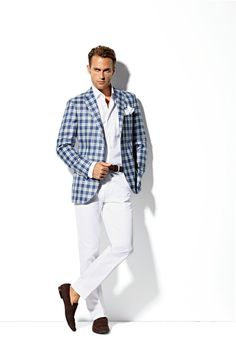 Mens Summer Fashion blue blazer white pants | Blue Check Blazer & White Chinos for Summer | Inspiration | TSL