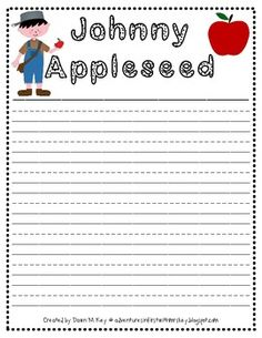 Johnny Appleseed Writing Paper Freebie  adventuresinfirstwithmrskey.blogspot.com