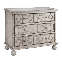Three-drawer wood chest