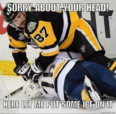 Crosby pushing PK's face into the ice so he won't have to smell his breath or listen to his motor mouth. Funny Hockey Memes, Hockey Quotes, Pens Hockey, Hockey Mom, Hockey Girls, Hockey Girlfriend, Hockey Stuff, Pittsburgh Sports, Pittsburgh Penguins Hockey