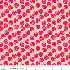 Doodlebug Designs Fabric- Sweetcakes - Strawberries in Pink
